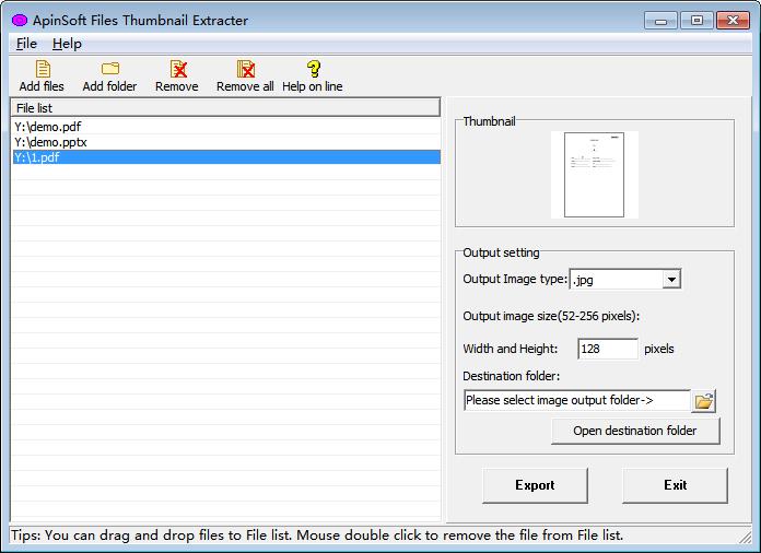 ApinSoft Files Thumbnail Extracter screenshot