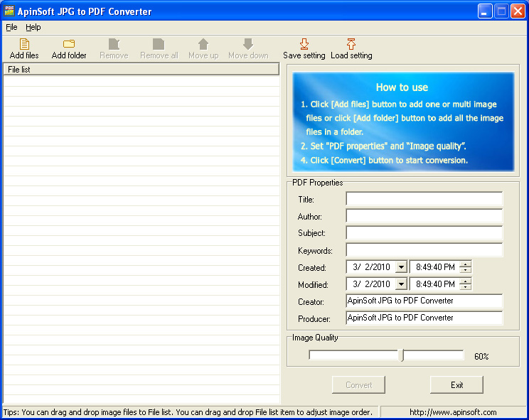 quickly convert image files to PDF file